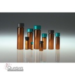 Amber Borosilicate Glass Vial, Black Phenolic Rubber Lined Cap | Quasar Instruments