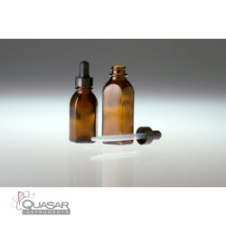 Amber Oval Dropper Bottles, Black Phenolic Plastic Dropper Assembly | Quasar Instruments