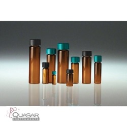 Amber Borosilicate Glass Vial, Black Phenolic Polyseal™ Cone Lined Cap | Quasar Instruments