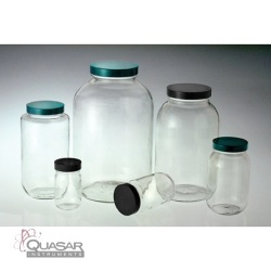 Standard Wide Mouth Bottles, White PP SturdeeSeal PE Foam Lined Caps | Quasar Instruments